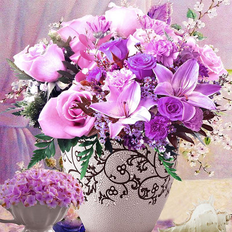 Purple Rose Vase - Easy DIY Diamond Painting Kits - OwlCube - Canvas Wall Art
