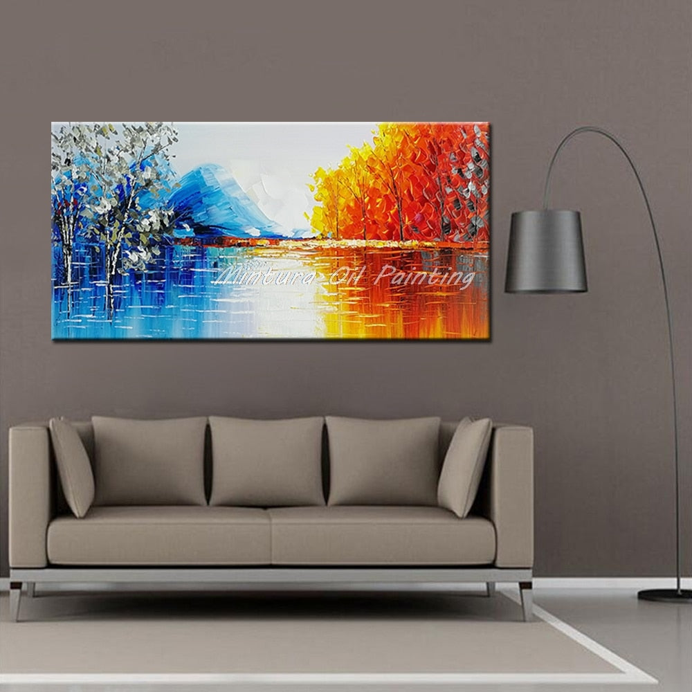 100%Handmade Modern Palette Knife Park Street Oil Painting On Canvas Art Pictures For Room Decor Wall Paintings No Frame 60x90cm - OwlCube - Diamond Painting by Numbers