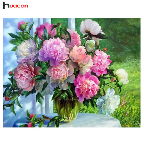 Huacan 3D DIY Diamond Embroidery Flowers Picture of Rhinestones Diamond Painting Cross Stitch Peony Needlework Wonderful Gift for Birthday Thanksgiving Christmas Gift for Women Men and Children