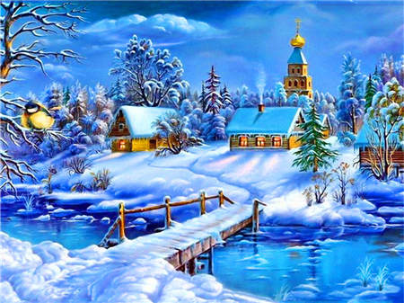 AZQSD Diamond Painting Winter Cross Stitch Diamond Embroidery Snow Scenery Needlework Full Square Landscape Wall Decor BB10393 - OwlCube - Diamond Painting by Numbers