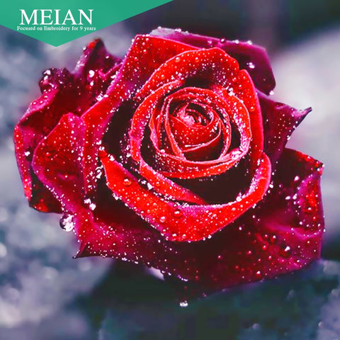 Meian,Full 5D DIY Diamond Painting,Flower Rose,Cross Stitch,3D,Diamond Mosaic,Needlework,Crafts,Diamond Embroidery, Wonderful Gift for Birthday Thanksgiving Christmas Gift for Women Men and Children
