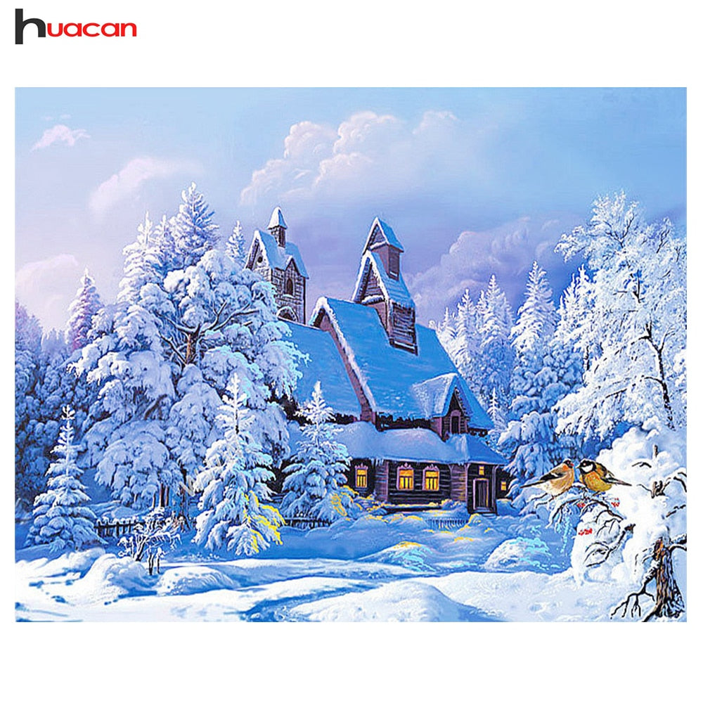 5D DIY Diamond Painting Scenic Diamond Embroidery Winter Snow Full Square Rhinestones Embroidery Home Decor 5d diamond painting christmas - OwlCube - Diamond Painting by Numbers