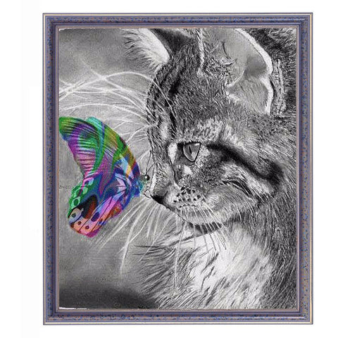 Beautiful Cat with Butterfly - Easy Diamond Painting Kit - OwlCube - Diamond Painting by Numbers