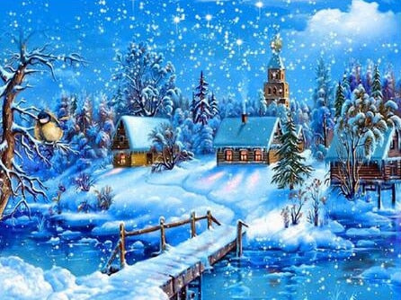 Christmas gift Snow scenery landscape DIY Crystal full drill square 5D diamond painting cross stitch kit mosaic round rhinestone - OwlCube - Diamond Painting by Numbers