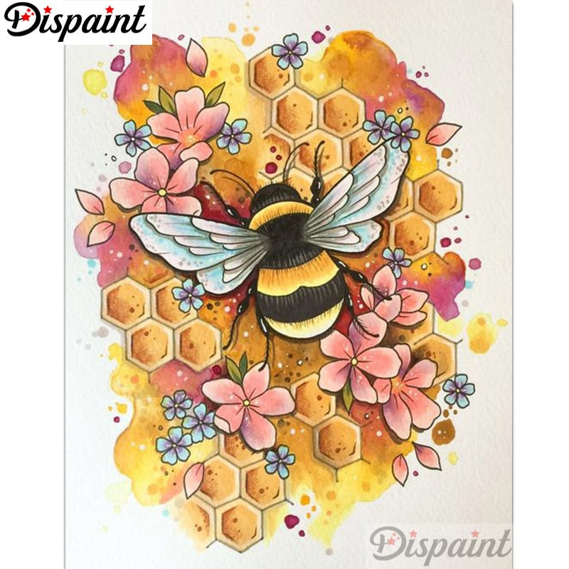 "Dispaint Full Square/Round Drill 5D DIY Diamond Painting ""Flower bee"" Embroidery Cross Stitch 3D Home Decor A12961"