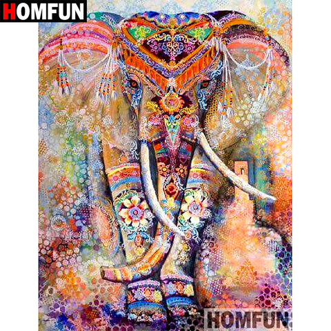 "HOMFUN 5D DIY Diamond Painting Full Square/Round Drill ""Color elephant"" Embroidery Cross Stitch gift Home Decor Gift A07915"