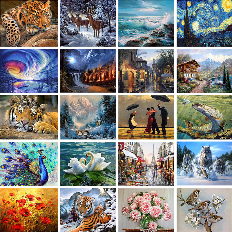 Home Animal landscape character 5D Diamond Painting Cross Ctitch Kit 20 Pattern Wall Sticker Mosaic Diamond Embroidery Painting