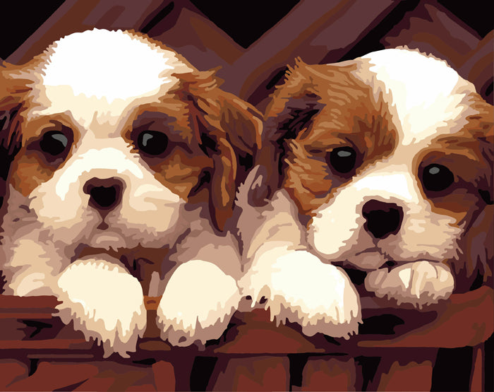 Two Little Dogs - Easy DIY Paint by Numbers Kits - OwlCube - Canvas Wall Art