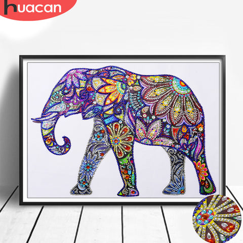 Huacan Special Shaped Diamond Painting Cross Stitch Elephant Animal Diamond Mosaic 5D Diy Home Decoration Picture Of Rhinestone