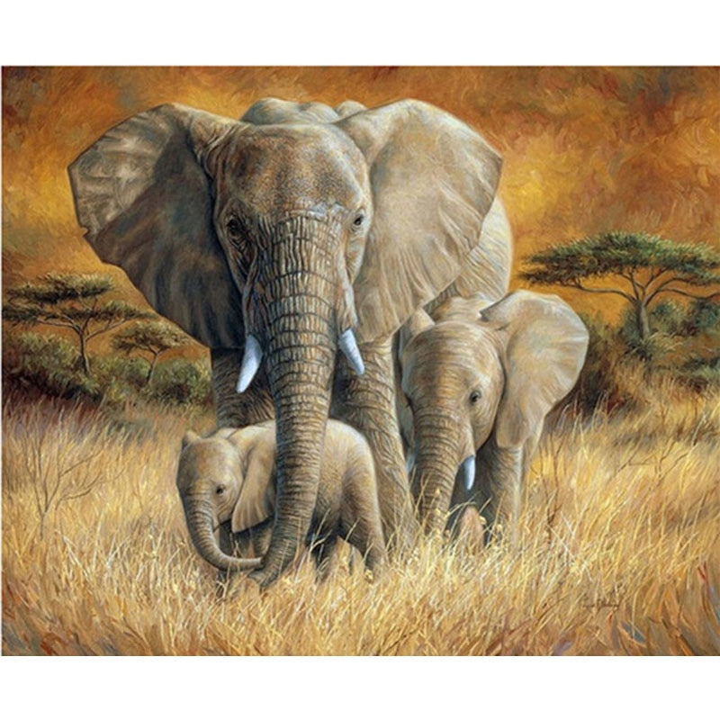 Diy diamond painting Forest african elephants family Diamond Embroidery 5d Diamond pictures mosaic,square Rhinestones Z1076