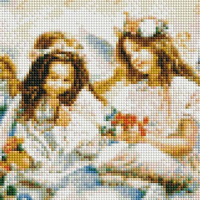 Square full of Diamond Painting Cross Stitch two cute angels diamonds cross stitch living room home decoration sale