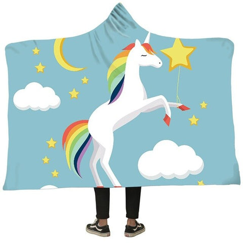 Unicorn Blanket 3D Printed Plush Hooded Blanket Throw Weighted Blankets Warm Thick Fleece Blanket Sweatshirt for Adult Kids