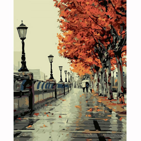 Romantic Autumn Tree - Easy DIY Paint by Numbers Kits - OwlCube Canvas Wall Art