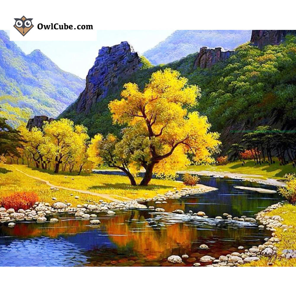 Autumn River - Easy 3D DIY Diamond Painting Kits - OwlCube Canvas Wall Art - OwlCube - Diamond Painting by Numbers