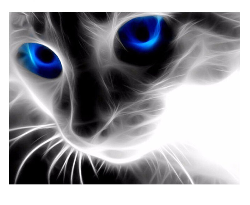 Blue Eyes Cat - Easy DIY Diamond Painting Kits - OwlCube Canvas Wall Art - OwlCube - Diamond Painting by Numbers