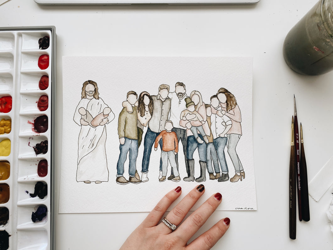 Custom Family Portrait with Jesus
