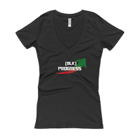 """Black Progress"" Ladies' V-Neck T-shirt"