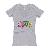 """Love"" Ladies' V-Neck T-shirt"