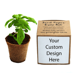 Promotional logo gift for company eco friendly ideas. Custom seed grow kits. Discovery garden growing plants