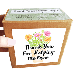 Teacher gift idea Australia. Plastic free eco friendly gardener seed gifts. Grow plants thank you presents