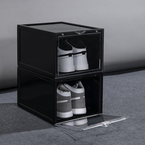 Drop Front Shoe Box | MAGNETIC | BLACK - The Sneaker Laundry