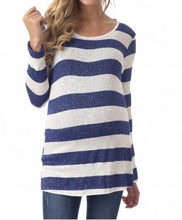 Navy & White Stripe Button-Back Top (L)