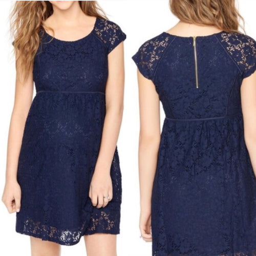 Navy Lace Maternity Dress (S)