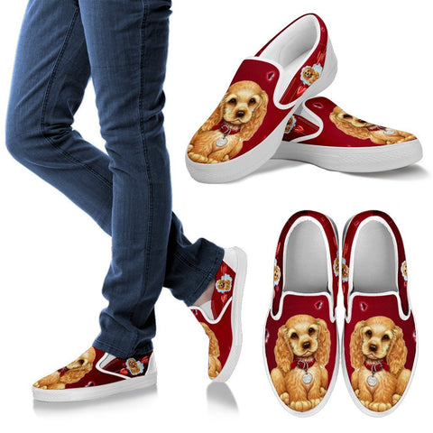 Valentine's Day Special-Cocker Spaniel Print Slip Ons For Women-Free Shipping