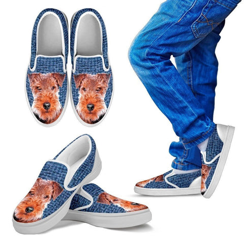 Welsh Terrier Dog Print Slip Ons For Kids-Express Shipping