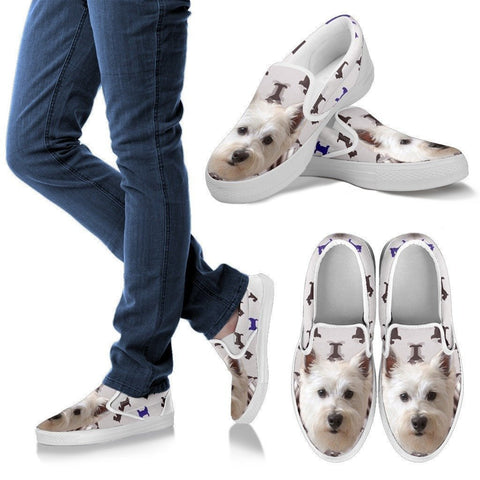 West Highland White Terrier Print Slip Ons For Women- Express Shipping