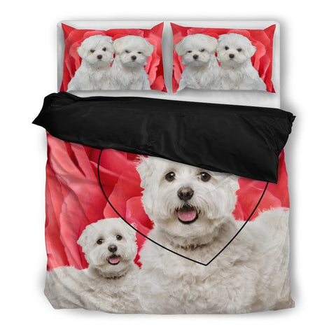 Valentine's Day Special Maltese Print On Red Rose Bedding Set-  Free Shipping