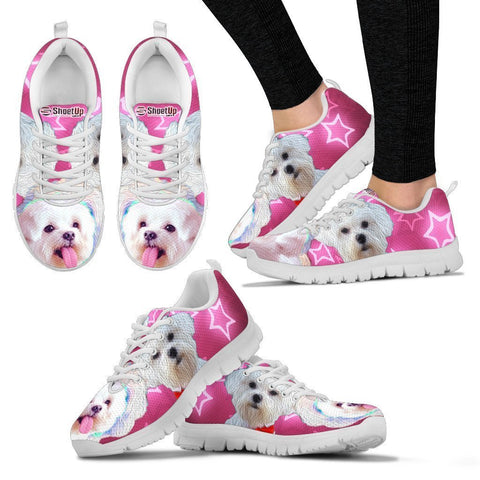 Maltese On Pink Print Running Shoes For Women- Free Shipping