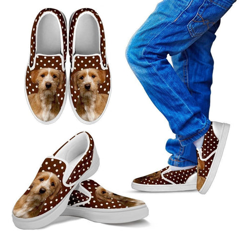 Basset Fauve de Bretagne Dog Print Slip Ons For Kids-Express Shipping