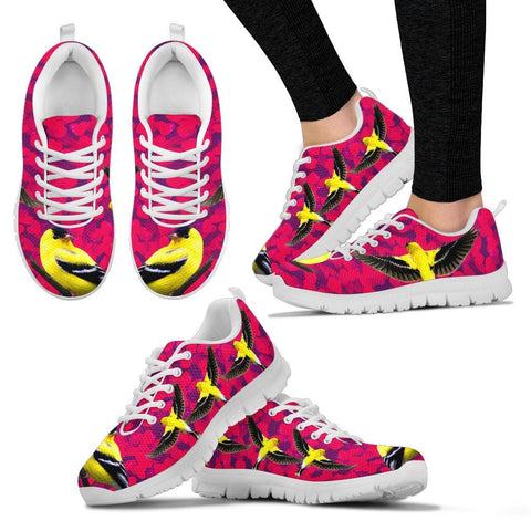 Valentine's Day Special-American Goldfinch Bird On Red Print Running Shoes For Women-Free Shipping