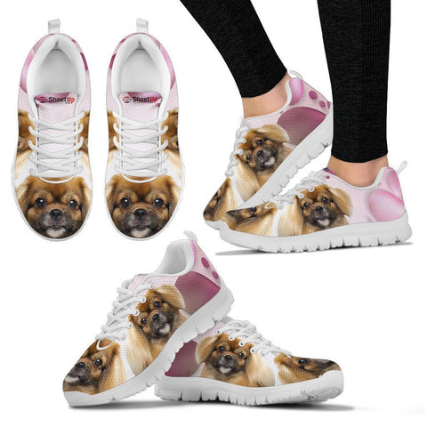 Tibetan Spaniel Pink White Print Running Shoes For Women-Free Shipping