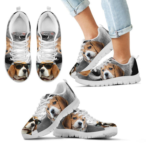 Beagle With Glasses Print Running Shoes For Kids- Free Shipping