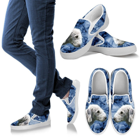 Bedlington Terrier Print Slip Ons For Women- Express Shipping