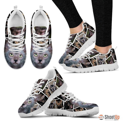 Lykoi Cat Print (White/Black) Running Shoes For Women-Free Shipping