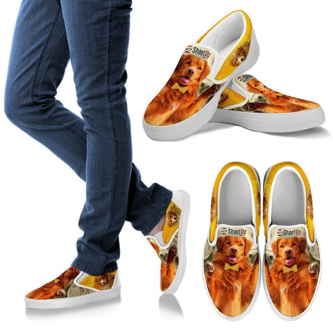 Nova Scotia Duck Tolling Retriever With Bow Tie Print Slip Ons For Women-Free Shipping