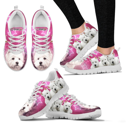 West Highland White Terrier On Pink Print Running Shoes For Women- Free Shipping