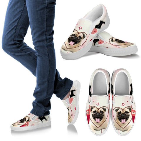 Valentine's Day Special Pug Dog Print Slip Ons For Women- Free Shipping