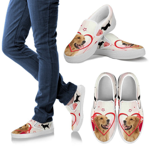 Valentine's Day Special Golden Retriever Print Slip Ons For Women- Free Shipping
