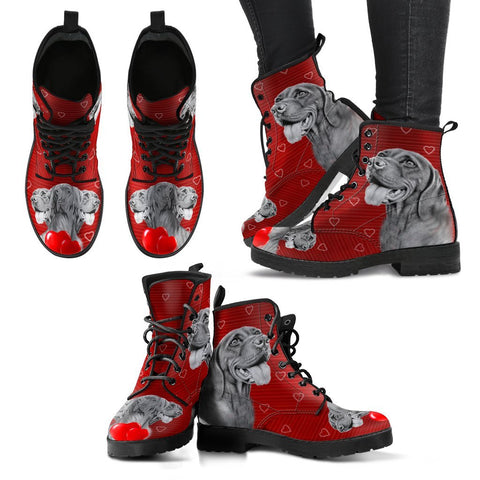 Valentine's Day Special-Vizsla Dog On Red Print Boots For Women-Free Shipping
