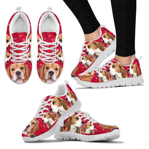 Valentine's Day Special-Beagle On Red 3D Print Running Shoes For Women-Free Shipping