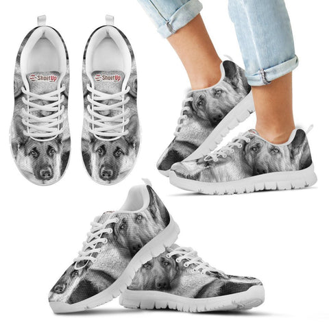 German Shepherd B&W Print Sneakers For Kids And Women- Free Shipping