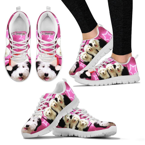 Old English Sheepdog On Pink Print Running Shoes For Women- Free Shipping