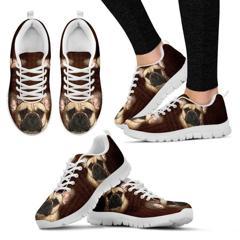 Cute French Bulldog Print Sneakers For Women(White/Black)- Express Shipping