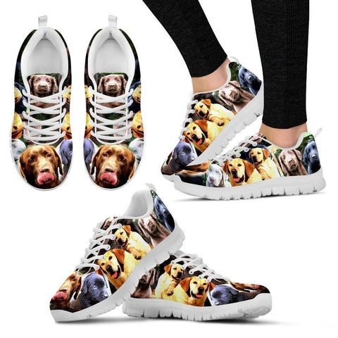 Multiple Labrador Retriever Print (Black/White) Running Shoes For Women-Express Shipping