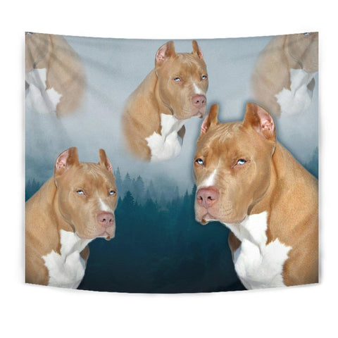 Pit Bull Terrier On Blue Print Tapestry-Free Shipping