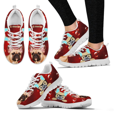 French Bulldog On Red-Women's Running Shoes-Free Shipping